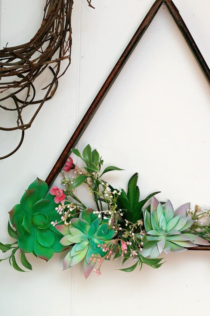 Succulent Plant Hanging Display Idea Using A Wood Pool Ball Rack