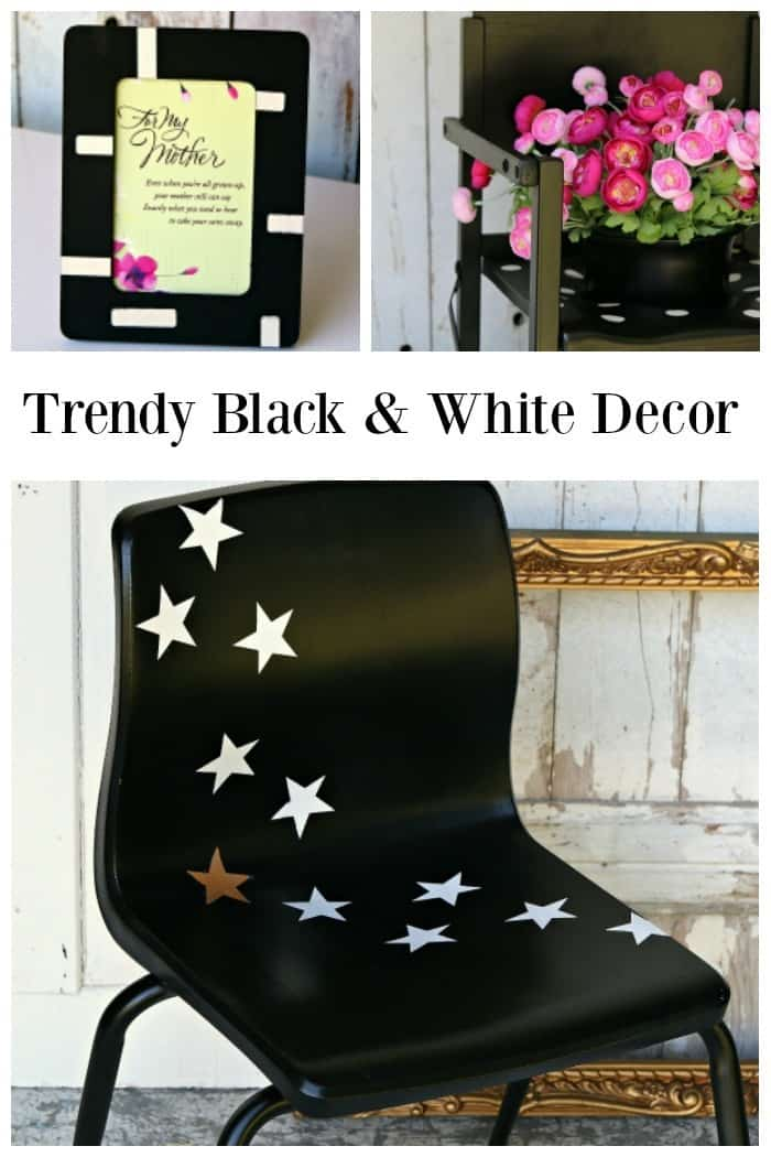 Trendy black and white decor is easy to create with a can of spray paint and decals