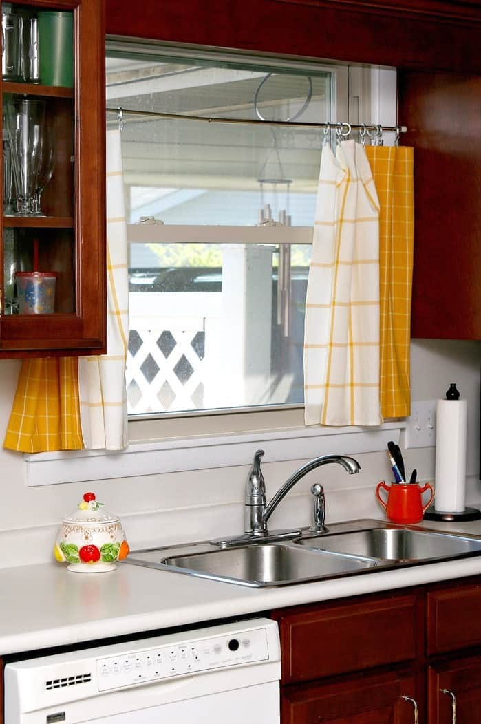 Yellow Dish Towel Kitchen Curtain Tiers