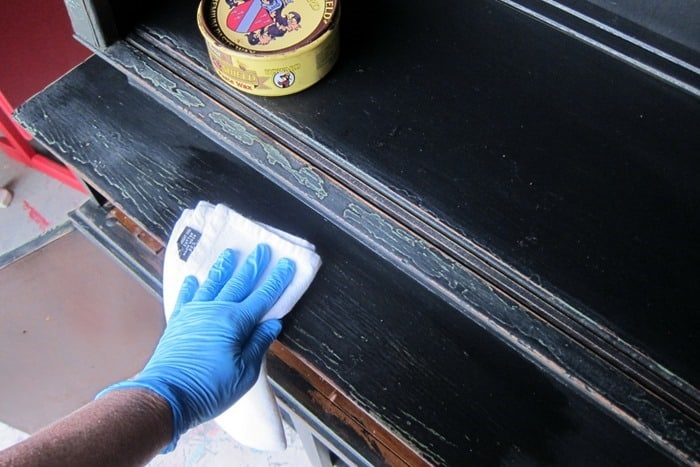 apply dark wax to painted furniture