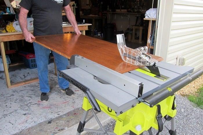 cutting a replacement shelf for a china hutch