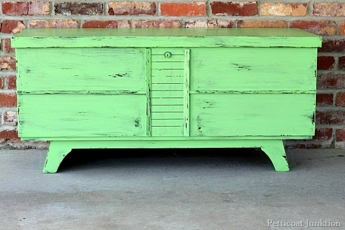 green cedar chest makeover