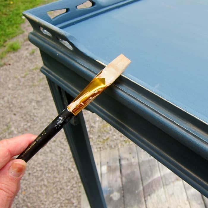 how to apply white wax to furniture edges and details