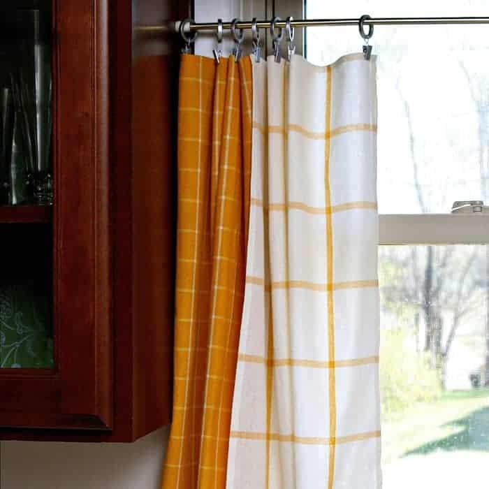 Yellow Dish Towel Kitchen Curtain Tiers Petticoat Junktion