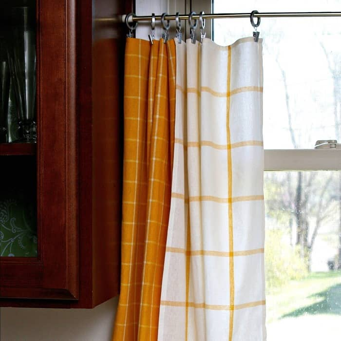 make curtains using dish towels