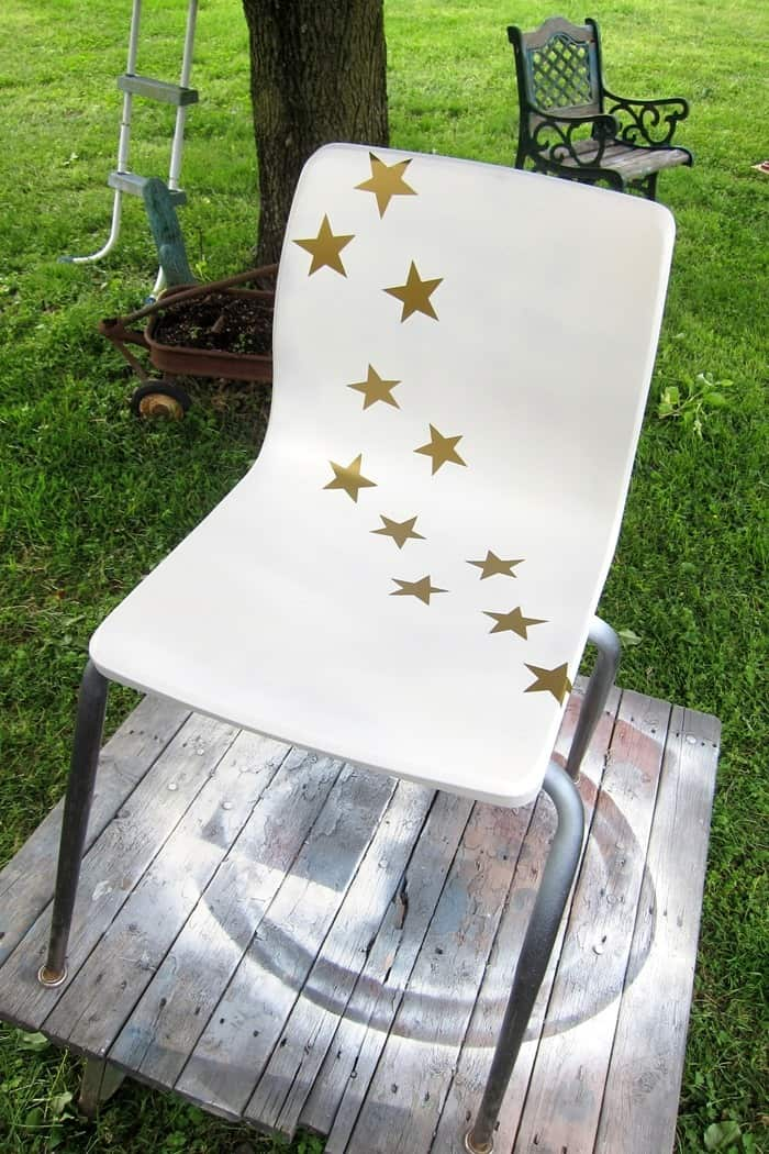 put star decals on furniture then spray paint the furniture and remove the decals for a fun paint finish