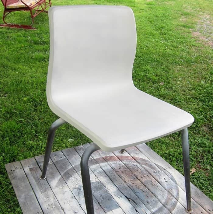 school chair spray painted white