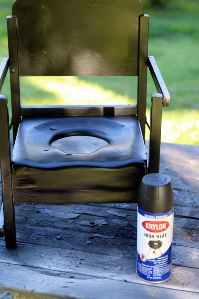 spray paint a wood potty chair and turn it into a planter