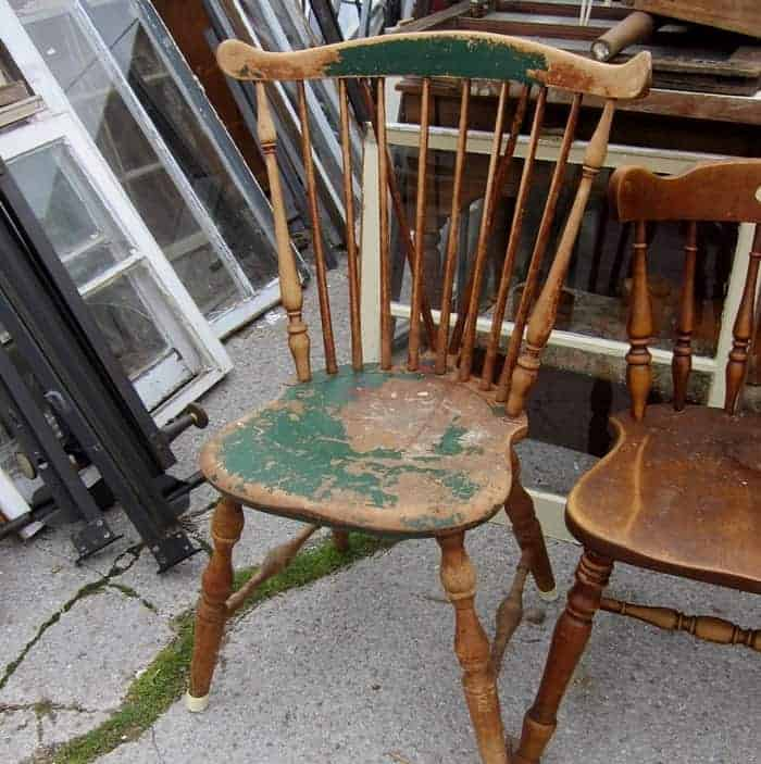 vintage dining chair with green chippy paint