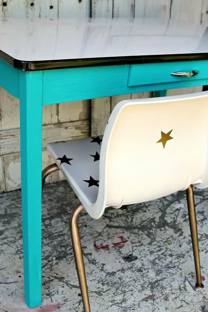 white chair with gold stars