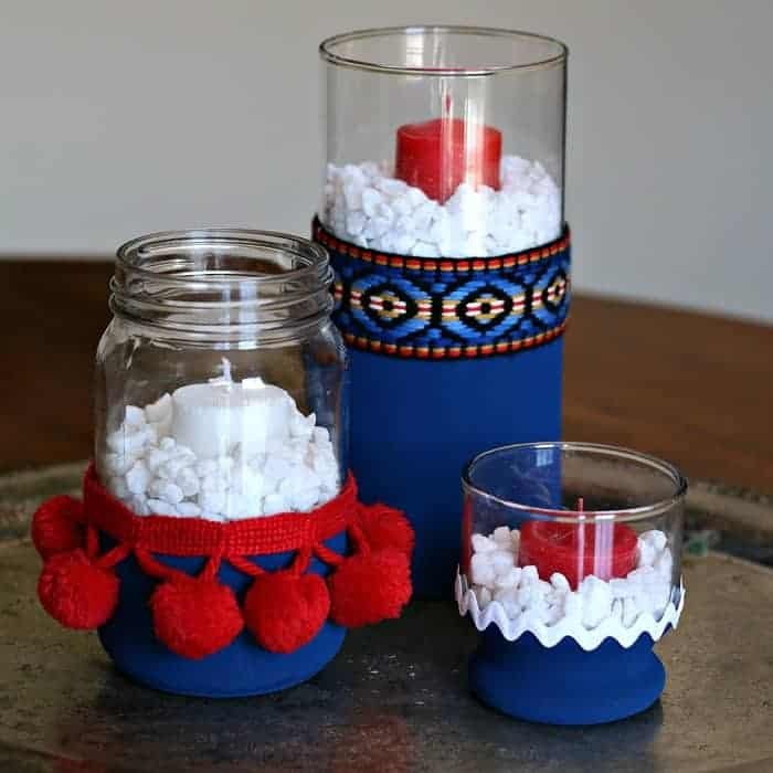 red white and blue home decor candle holders