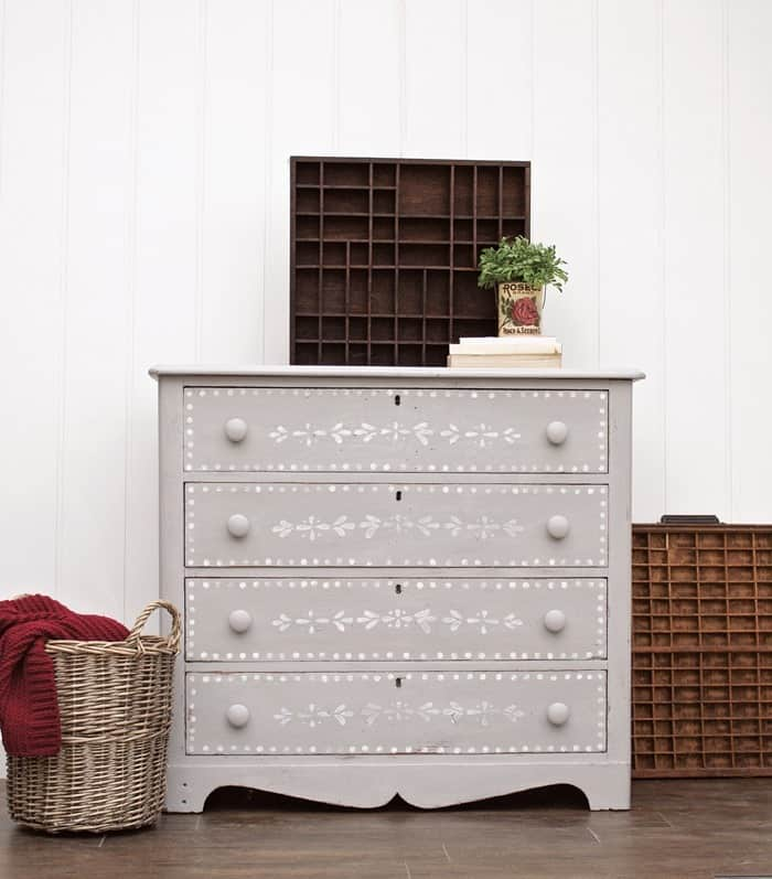 Amazing Furniture Makeovers gray-stenciled-dresser after