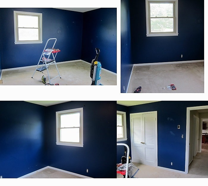 blue bedroom ready for makeover