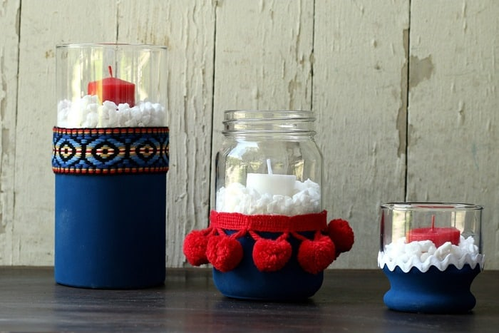decorate with red white and blue candle holders