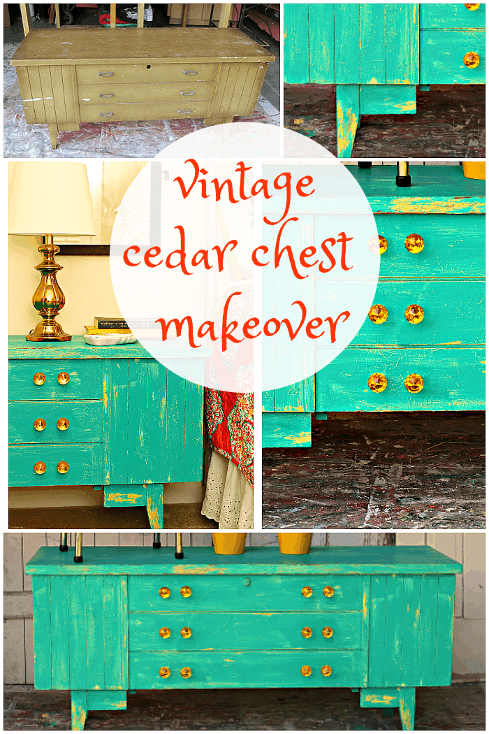 how to paint a vintage cedar chest and use vaseline to layer and distress paint