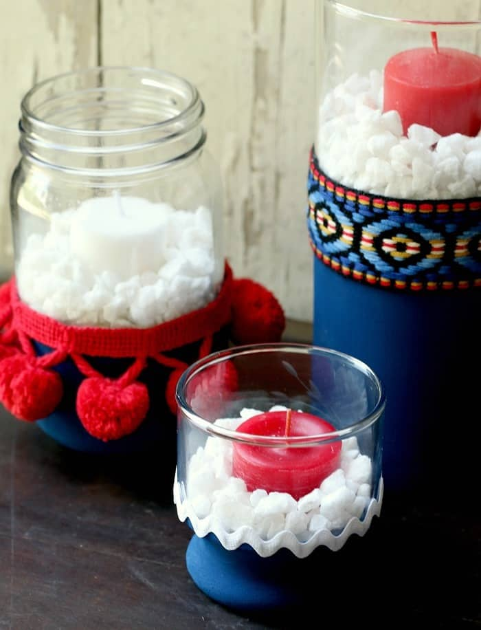 make your own red white blue candle holders