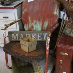 rusty chipped paint vintage metal lawn chair