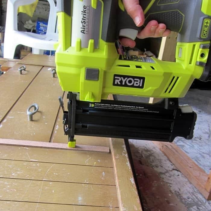using a Ryobi Airstrike brad nailer to make furniture repairs