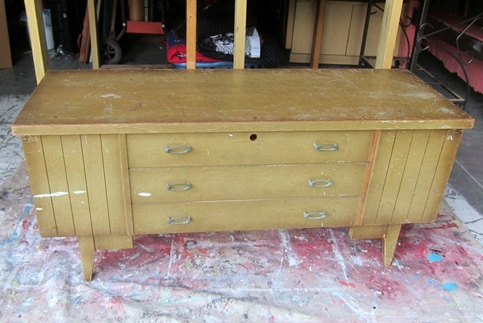 vintage cedar chest for paint makeover