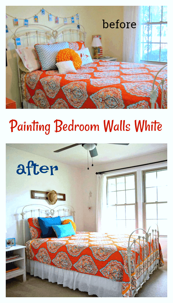 Paint bedroom walls white and add pops of color with bedding and wall decor