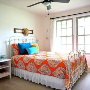 paint the master bedroom whiter and add pops of color