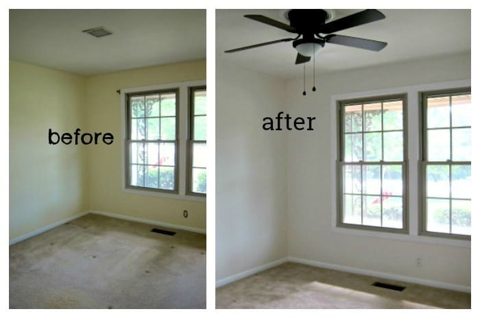 before and after guest bedroom painted white