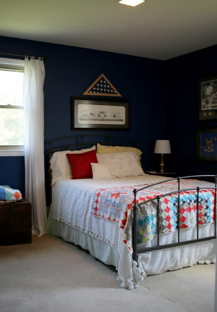 blue bedroom before total paint and decor makeover