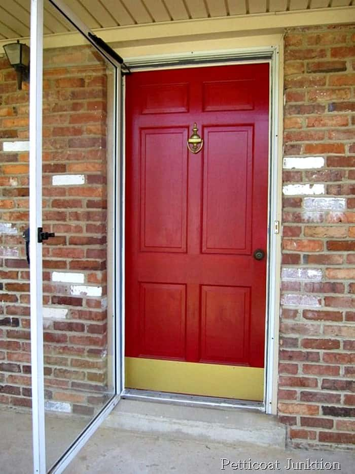 changing paint on a front door from red to blue