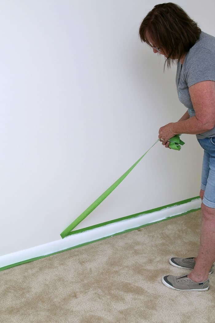 guest bedroom makeover using FrogTape and white paint