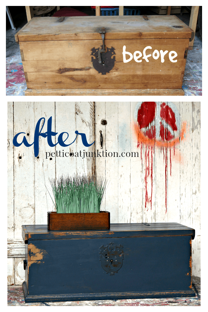 how to paint and distress an unfinished wood trunk before and after