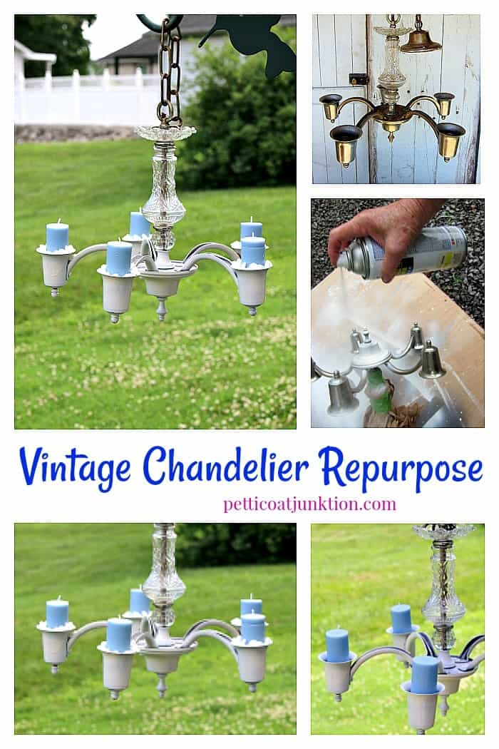 how to repurpose a vintage chandelier into a unique hanging candle holder
