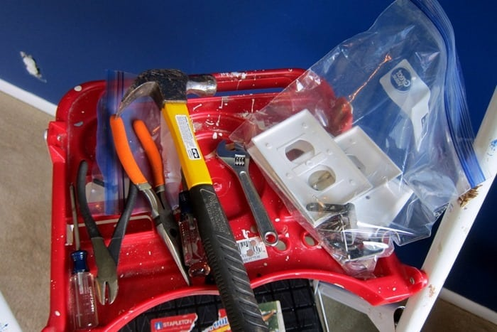remove wall outlet plates and store in a bag with screws