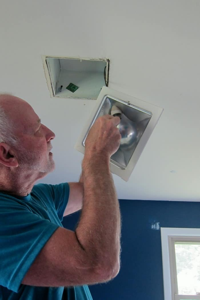 removing an inset ceiling light to replace with a ceiling fan