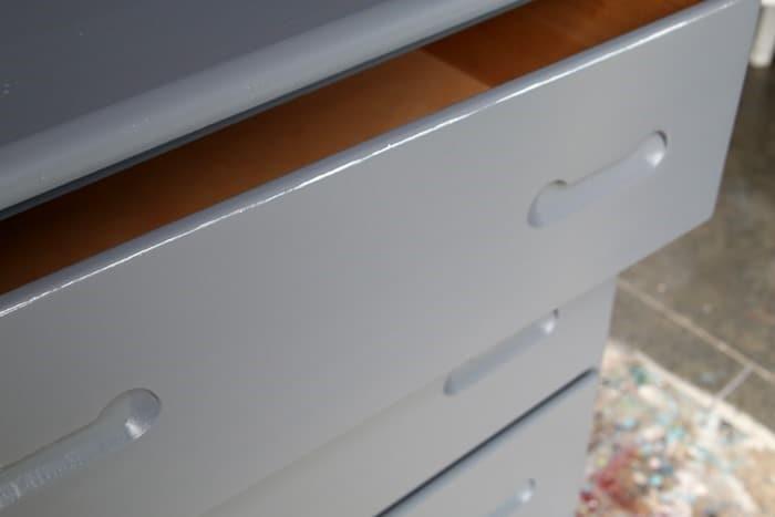white paint on drawer edge