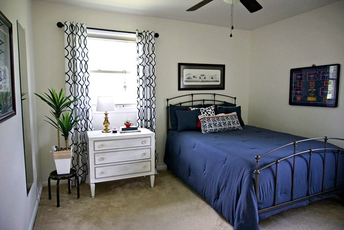 Blue And White Bedroom Makeover Reveal With Pops Of Red