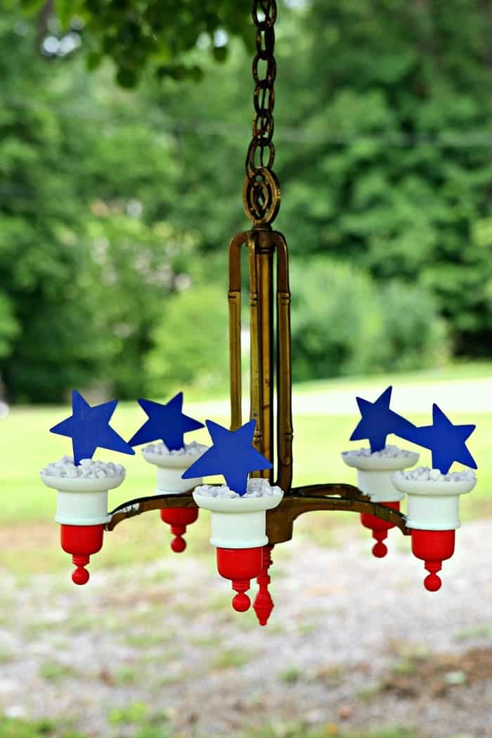 Brass Chandelier Upcycle Project Idea Red White Blue DIY