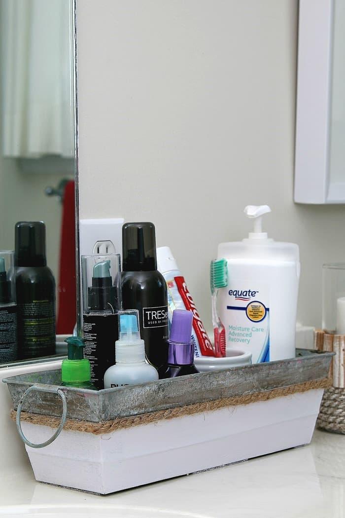 Make A Pretty Bathroom Counter Organizer