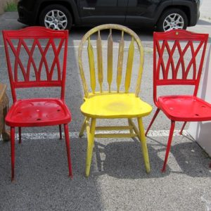 Colorful painted chairs at the Nashville Flea Market