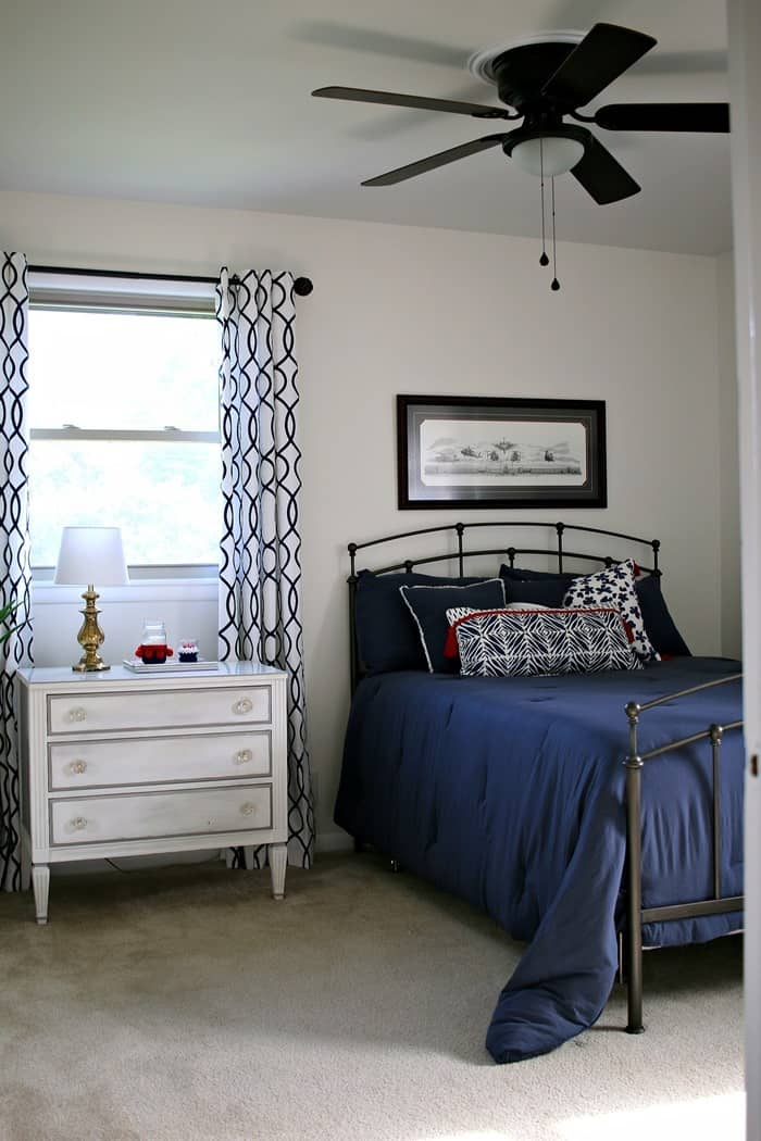 Navy And White Bedroom Makeover Reveal Before And After