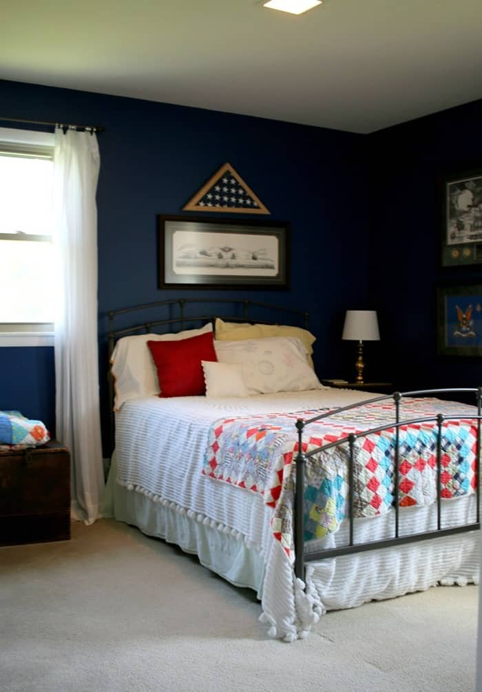 blue bedroom before paint and decor makeover by Petticoat Junktion