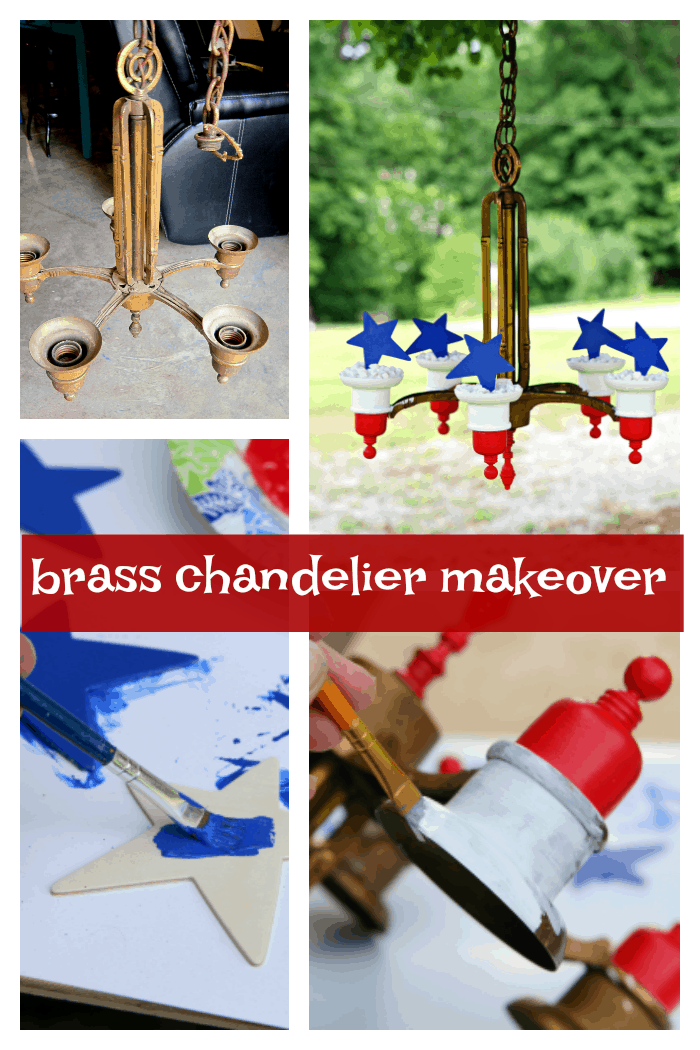 chandelier makeover with red white and blue paint