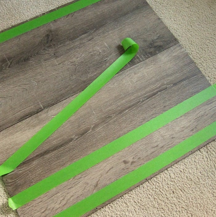prep work for painting stripes on furniture