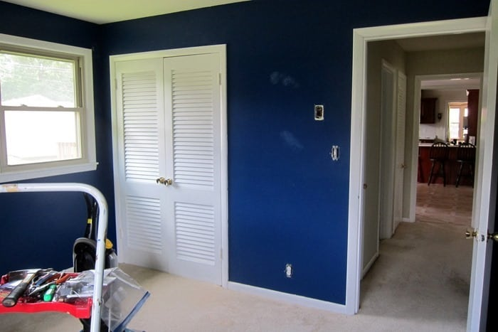 prepping the bedroom for painting