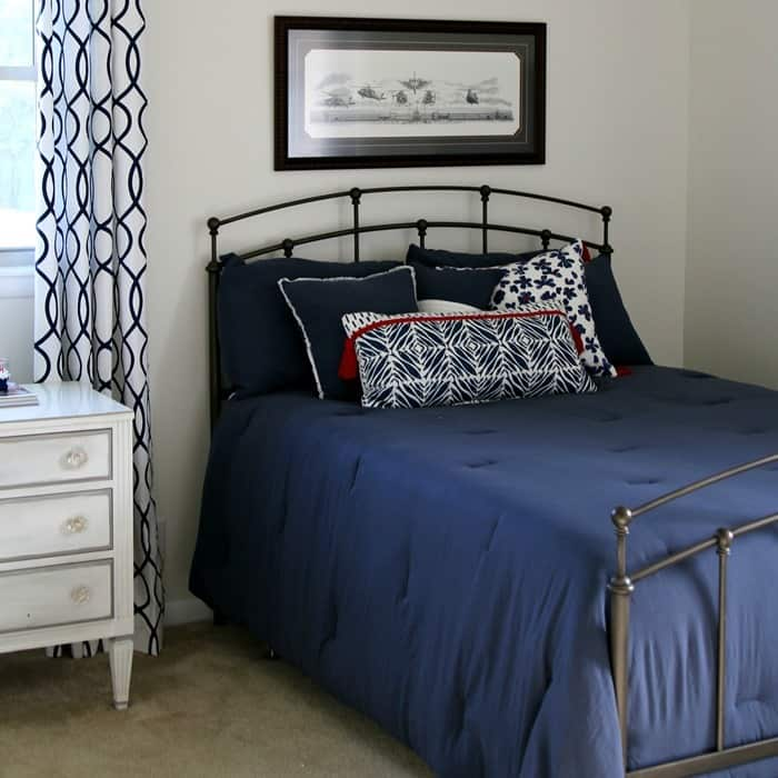 red white and navy bedding from TJMaxx and Target
