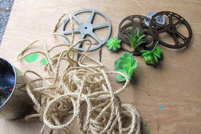 supplies for succulent wall display project with sisal rope and recycled 8mm movie reels