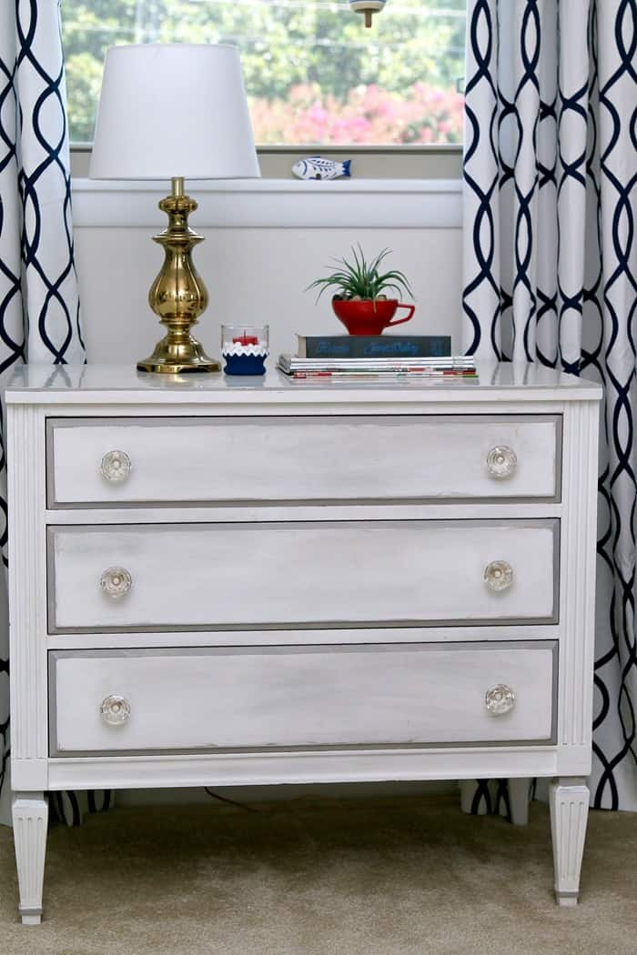 two tone painted wood furniture in white and gray