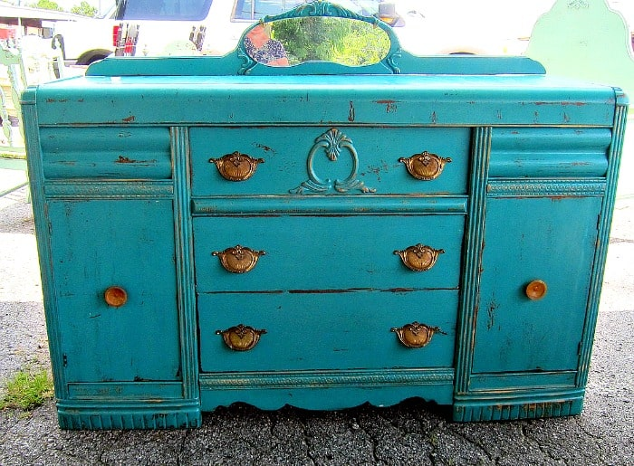 vintage buffet painted turquoise by Debbie at the Nashville Flea Market