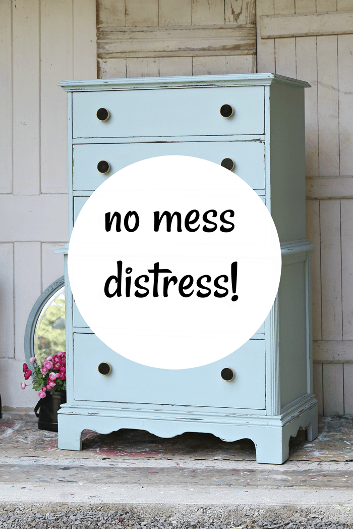 wet distress painted furniture without the mess using a household cleanser