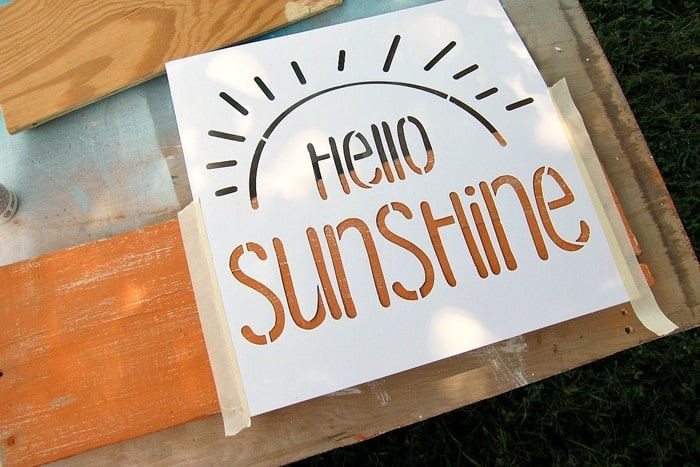 FolkArt Hello Sunshine stencil project