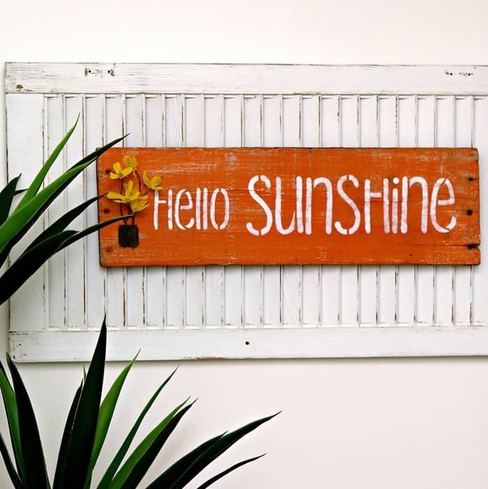 How To Make A Hello Sunshine Sign Using A Recycled Wood Shutter